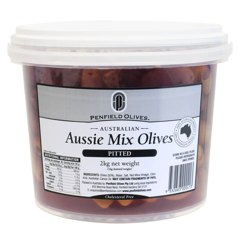 Penfield Olives food service page pic, 2kg Aussie Mix Olives in a clear container with a white lid.