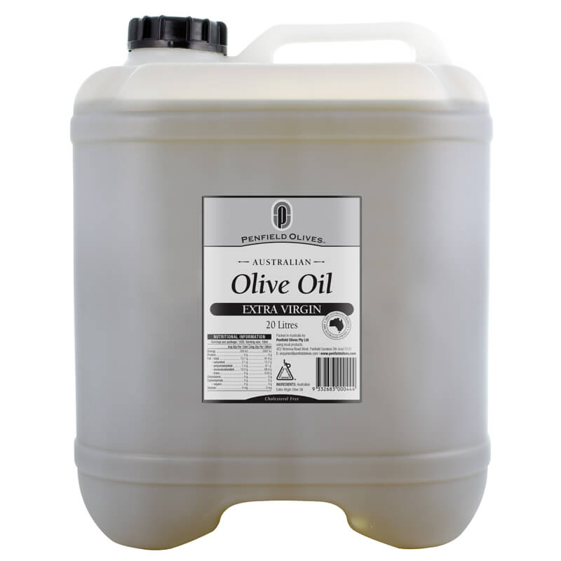 Penfield Olives food service page image of their 20Ltr extra virgin olive oil in a plastic bottle.