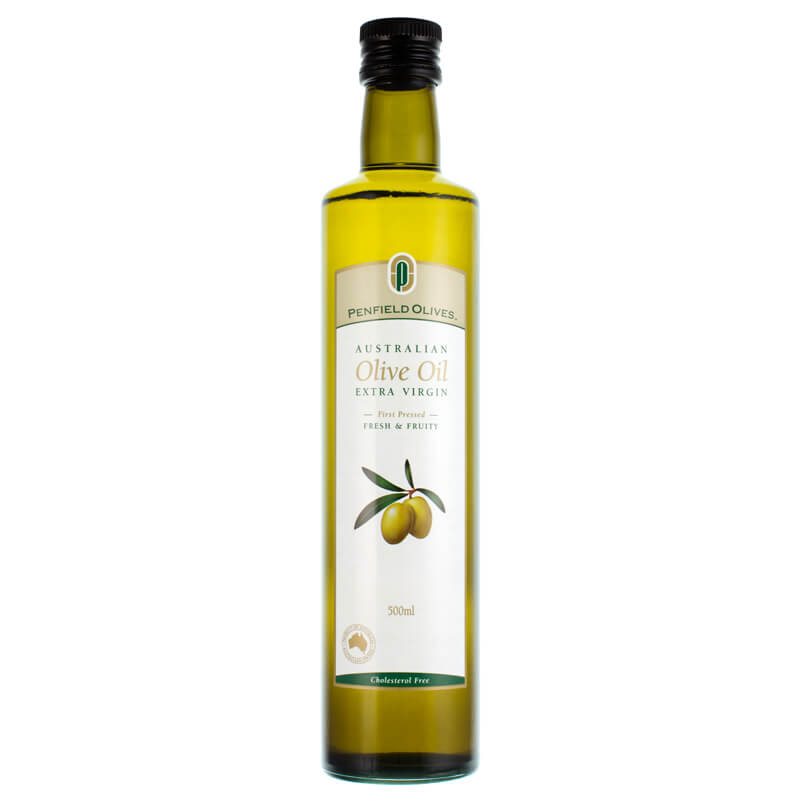 Penfield Olives food service page image of their 500ml extra virgin olive oil in a green glass bottle.
