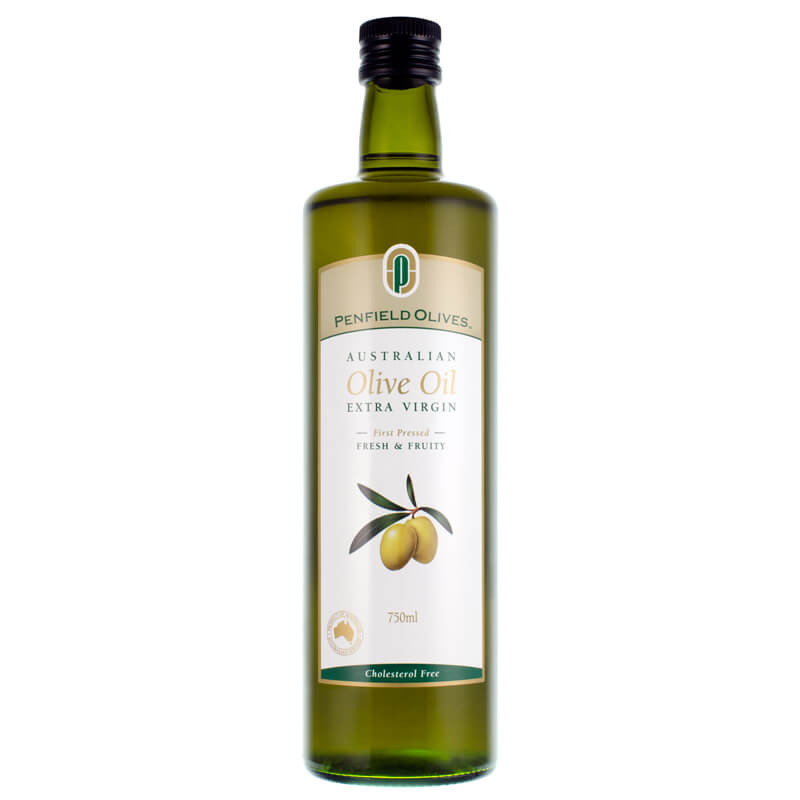 Penfield Olives food service page image of their 750ml extra virgin olive oil in a green glass bottle.