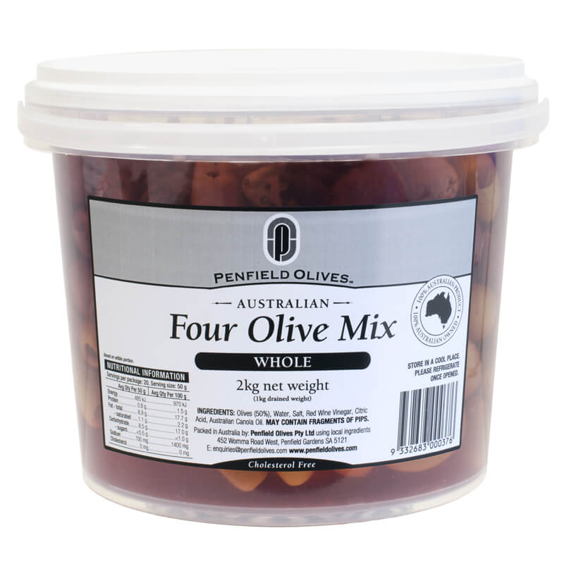 Penfield Olives food service page pic, 2kg Four Olive Mix in a clear container with a white lid.