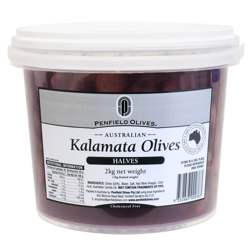 Penfield Olives food service page pic, 2kg Kalamata olives halves in a clear container with a white lid.