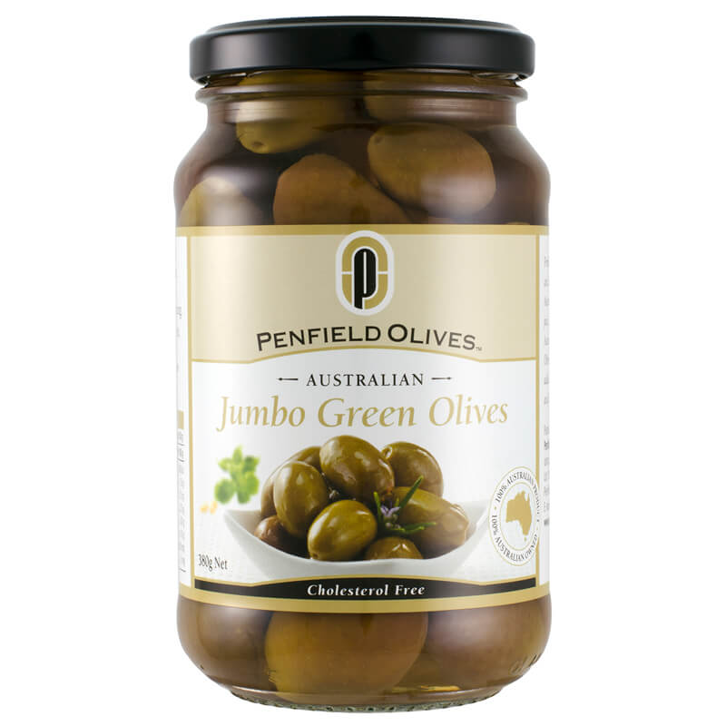 Penfield Olives retail olive products South Australia page pic, 380g Jumbo Green Olives in a glass jar.