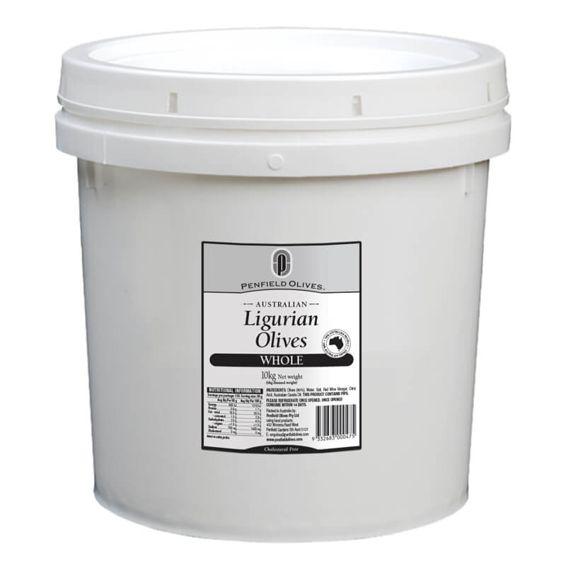 Penfield Olives food service page pic, 10kg Whole Ligurian Olives in a white container with a white lid.