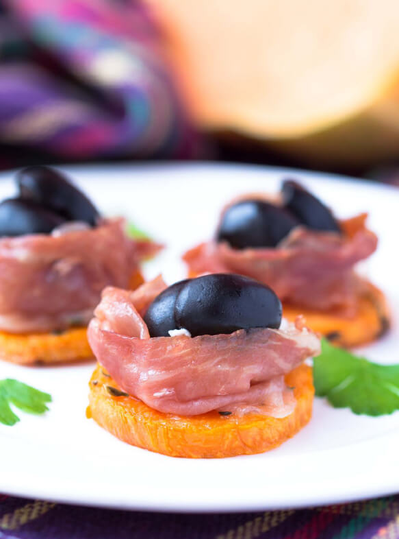 Penfield Olives food service page pic, canape with shaved salmon and kalamata olives.