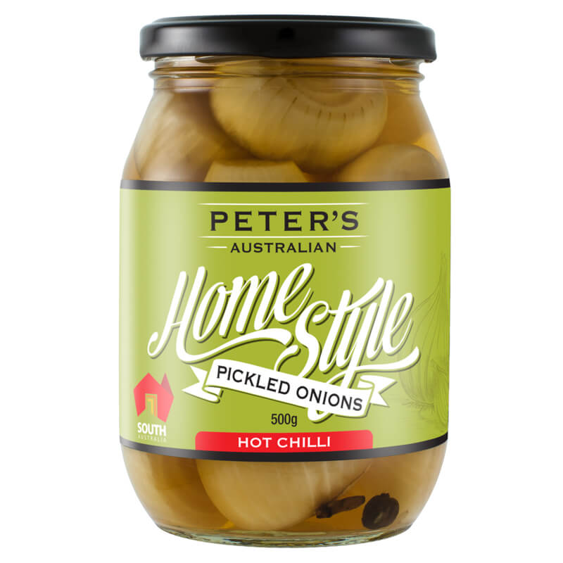 Penfield Olives - Peter's Home Style Pickled Onions (Hot) pic, green, black & white label on a glass jar.