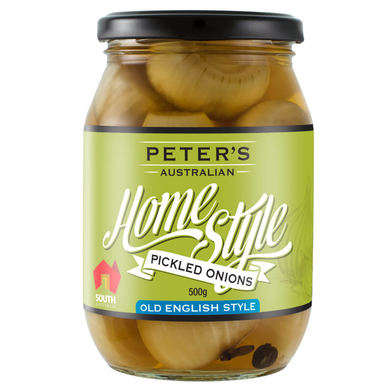 Penfield Olives - Peter's Home Style Pickled Onions pic, green, black & white label on a glass jar.