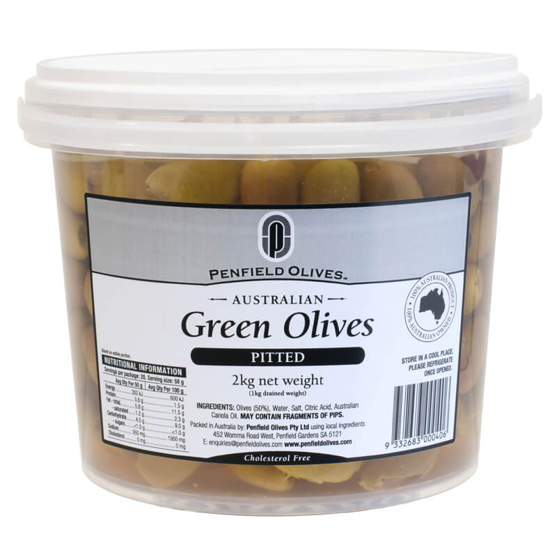Penfield Olives food service page pic, 2kg Pitted Green Olives in a clear container with a white lid.