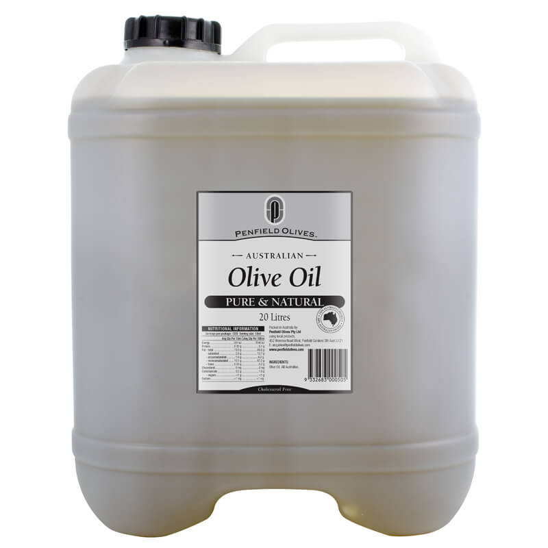 Penfield Olives food service page image of their 20Ltr pure olive oil in a plastic bottle.