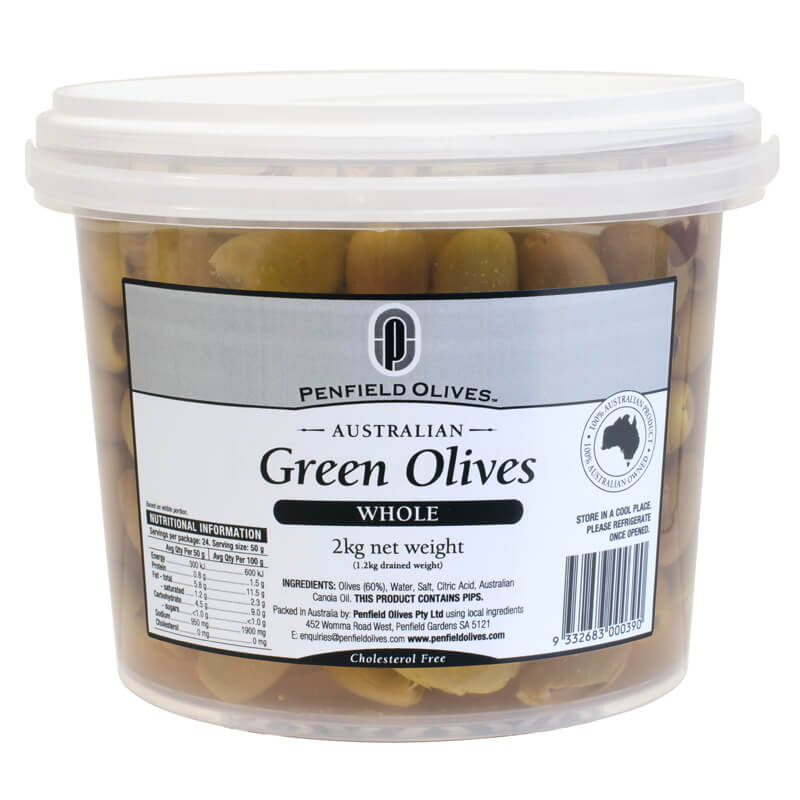 Penfield Olives food service page pic, 2kg Whole Green Olives in a clear container with a white lid.