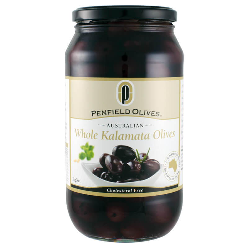 Penfield Olives retail olive products South Australia page pic, 1kg Whole Kalamata Olives in a glass jar.