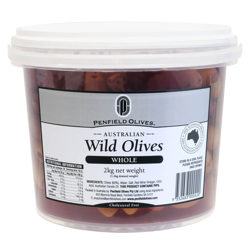 Penfield Olives food service page pic, 2kg Wild Olives Whole in a clear container with a white lid.