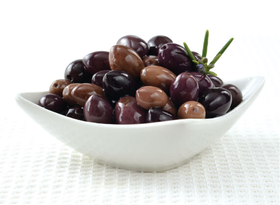 Penfield Olives food service olives and oils page image, a bowl of Penfield Olives Wild Olives.