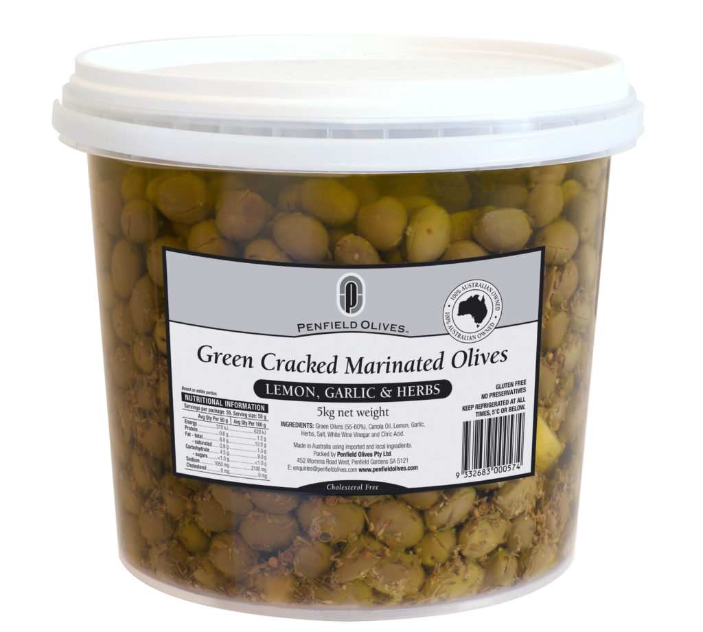 Penfield Olives food service page pic, 5kg Green Cracked Marinated Olives in Lemon, Garlic and Herbs in a clear container with a white lid.
