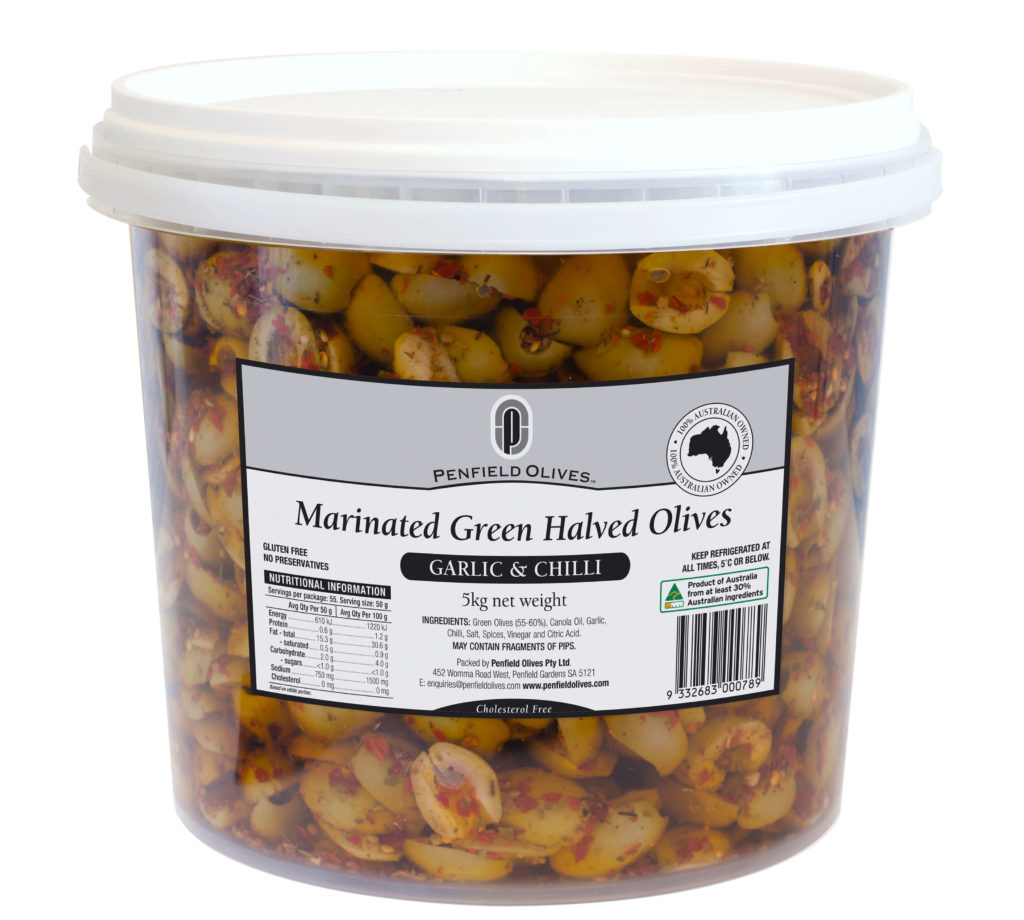 Penfield Olives food service page pic, 5kg Green Marinated Halved Olives in Garlic and Chilli in a clear container with a white lid.