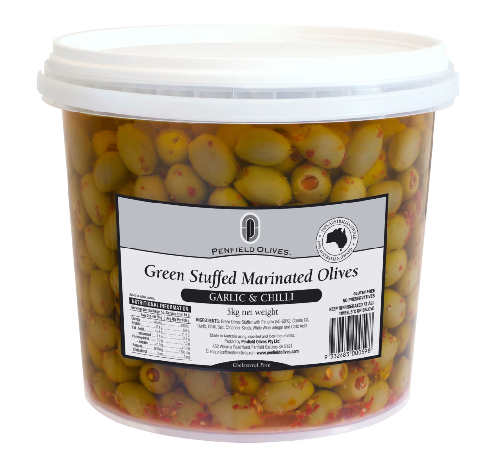 Penfield Olives food service page pic, 5kg Green Stuffed Marinated Olives in Chilli and Garlic in a clear container with a white lid.