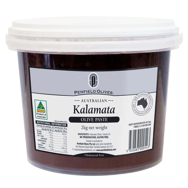 Penfield Olives food service page pic, 2kg Kalamata Olive Paste in a clear container with a white lid.