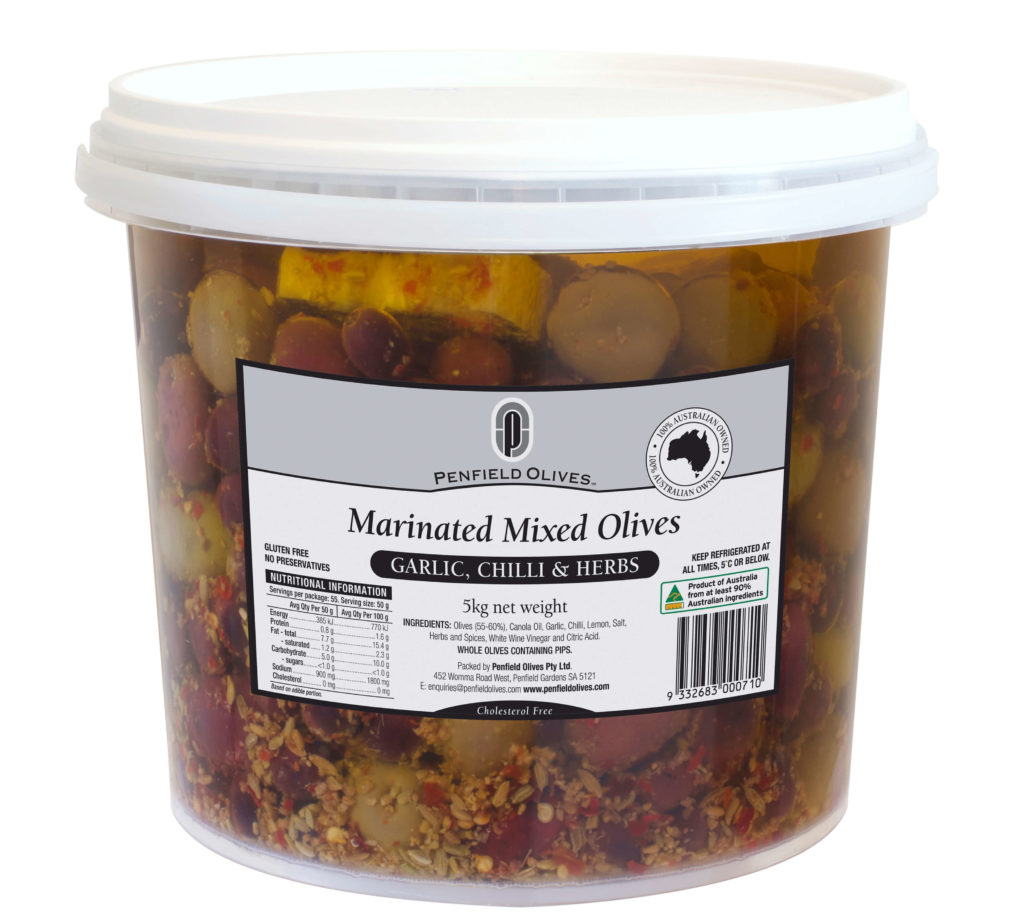 Penfield Olives food service page pic, 5kg Mixed Marinated Olives in Garlic, Chilli and Herbs in a clear container with a white lid.